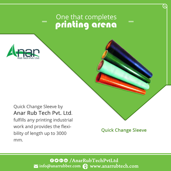 Quick Change Sleeve by Anar Rub Tech Pvt. Ltd. fulfills any printing industrial work and provides the flexibility of length up to 3000mm. #QuickChangeSleeve  #QuickChangeSleeveManufacturers  #QuickChangeSleeveExporters  #QuickChangeSleeveSuppliers