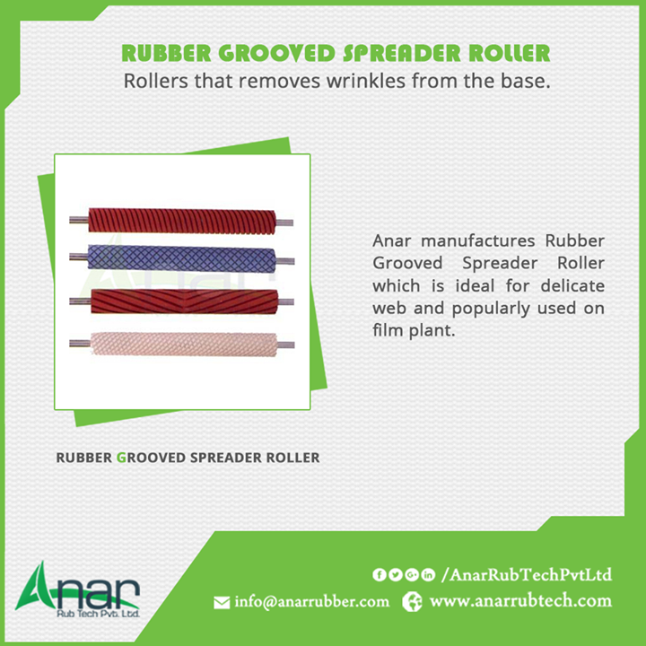 Anar manufactures Rubber Grooved Spreader Roller which is ideal for delicate web and popularly used on film plant.  #RubberGroovedSpreaderRoller  #RubberGroovedSpreaderRollerManufacturers  #RubberGroovedSpreaderRollerExporters  #RubberGroovedSpreaderRollerSuppliers  w:http://anarrubtech.com/   E:marketing@anarrubber.com   M:+91 9825405265