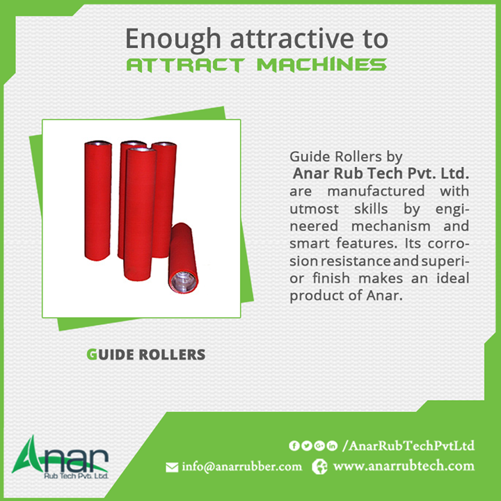 Guide Rollers by Anar Rub Tech Pvt. Ltd. are manufactured with utmost skills by engineered mechanism and smart features. Its corrosion resistance and superior finish makes an ideal product of Anar.  #GuideRollers #GuideRollersManufacturers  #GuideRollersExporters #GuideRollersSuppliers w:http://anarrubtech.com/   E:marketing@anarrubber.com   M:+91 9825405265