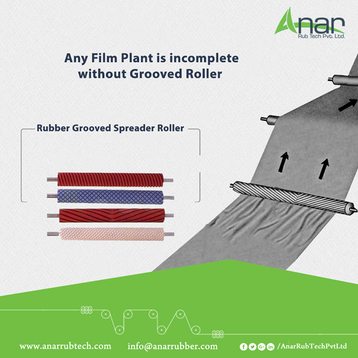 Rubber Grooved Spreader Roller by Anar Rub Tech is highly suitable for any Film Planting work and easily working on delicate film material. #RubberGroovedSpreaderRoller #RubberGroovedSpreaderRollerManufacturers #RubberGroovedSpreaderRollerExporters #RubberGroovedSpreaderRollerSuppliers