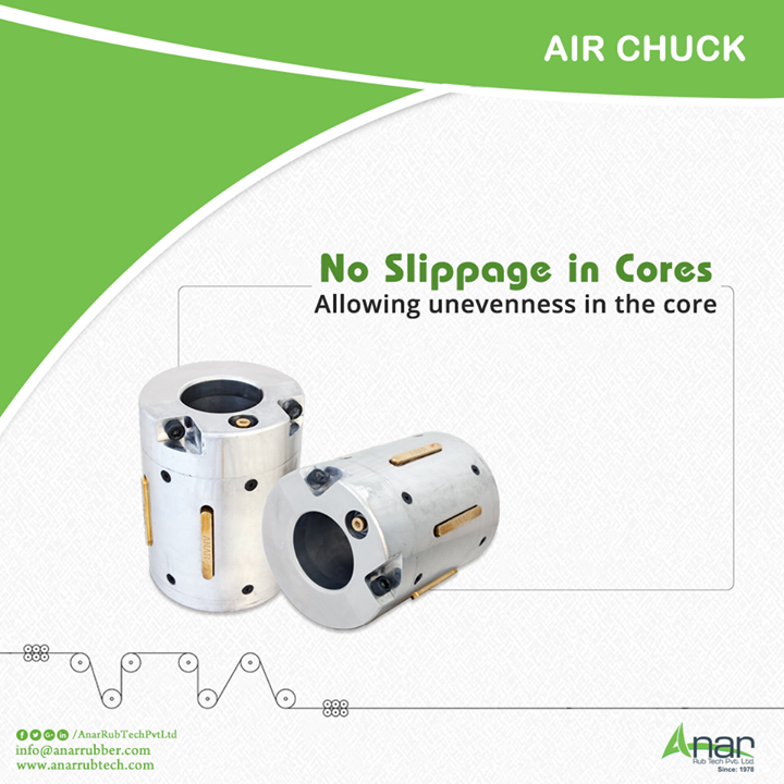 Air Chuck by Anar Rub Tech functioning ideally at high speed and heavy load with no slippages between the cores and allows flexibility in the cores. #AirChuck #AirChuckManufacturers  #AirChuckExporters  #AirChuckSuppliers