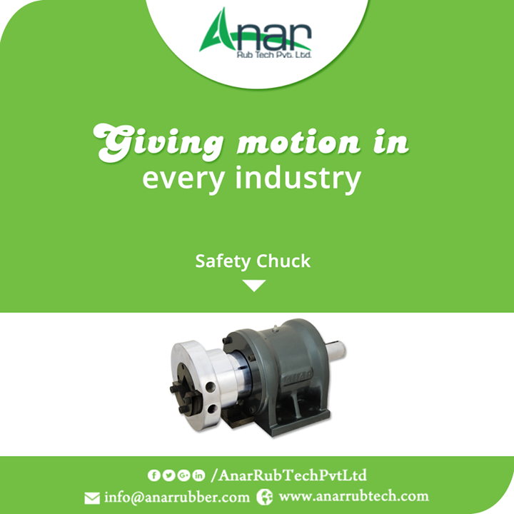 Safety Chuck by Anar Rub Tech gives effective implementation in shape cutting or in winding and unwinding position of any substance to be cut.  #SafetyChuck #SafetyChuckManufacturers #SafetyChuckExporters #SafetyChuckSuppliers