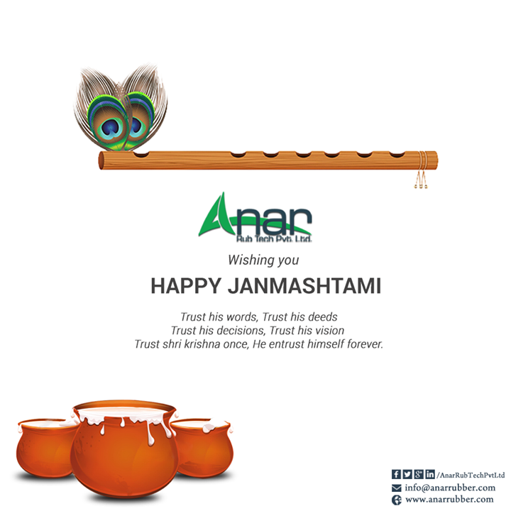 Anar Rub Tech wishing you all a very Happy Janmashtami and be grateful to whatever God has given to us #HappyJanmashtami #Janmashtami #KrishnaJanmashtami #RubberRollerManufacturers   #RubberRollerExporters   w:http://anarrubtech.com/   E:marketing@anarrubber.com   M:+91 9825405265