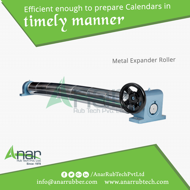 Metal Expander Roller by Anar Rub Tech is utilized in preparing calendars and other paper industries with high efficiency and in proper time.  #MetalExpanderRoller #MetalExpanderRollerManufacturers  #MetalExpanderRollerExporters #MetalExpanderRollerSuppliers