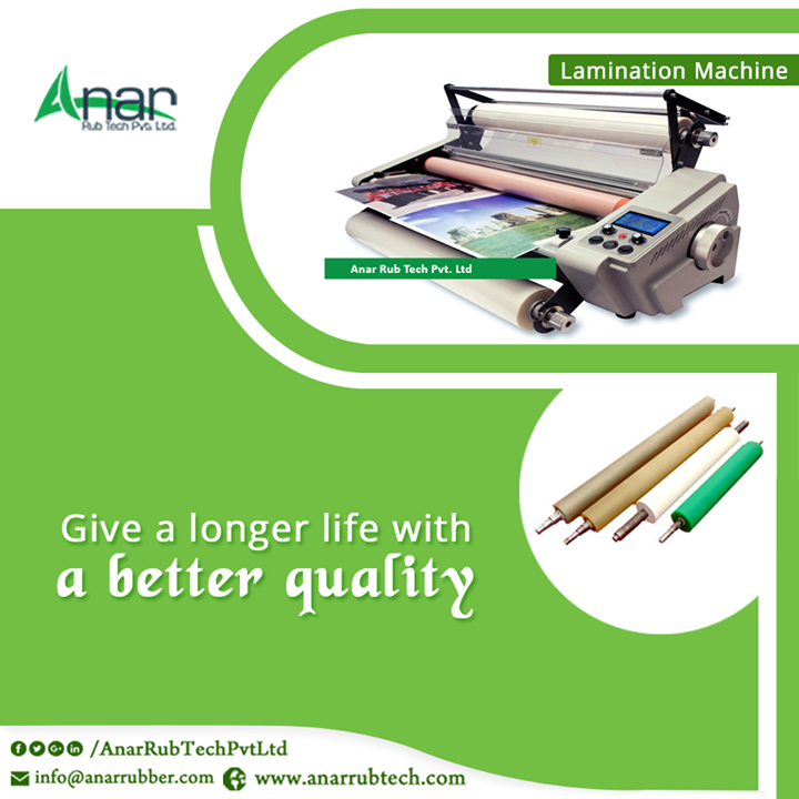 For a better lamination, it is necessary to get it rolled by better rollers. Anar Rub Tech manufactures Rubber Rollers that are highly useful for rolling on laminating purposes. #LaminationRubberRollers  #LaminationRubberRollersManufacturersforLaminationMachine #LaminationRubberRollersExportersforLaminationMachine #LaminationRubberRollersSuppliersforLaminationMachine