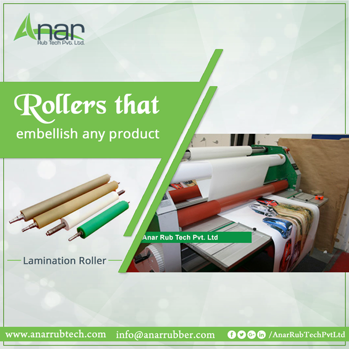 Lamination Rollers by Anar Rub Tech gives accuracy for any surfacing to embellish any product #LaminationRubberRollers  #LaminationRubberRollersManufacturers  #LaminationRubberRollersSuppliers   #LaminationRubberRollersExporters