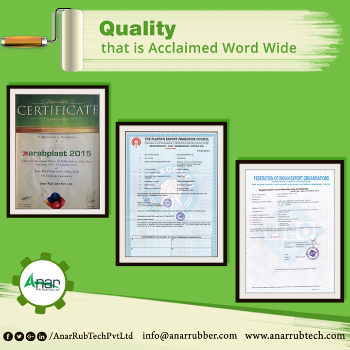 Anar Rub Tech has not just given its quality to Domestic Market, but also to the International Markets for which it is rewarded on a worldwide platform.  #AnarRubTechPvtLtd