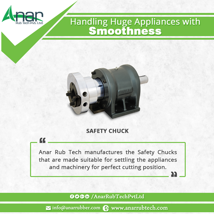 Anar Rub Tech manufactures the Safety Chucks that are made suitable for settling the appliances and machinery for perfect cutting position. #SafetyChucks #SafetyChucksManufacturers #SafetyChucksExporters #SafetyChucksSuppliers