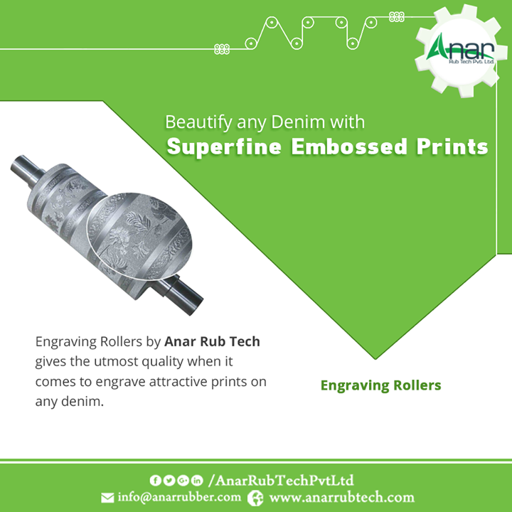 Engraving Rollers by Anar Rub Tech gives the utmost quality when it comes to engrave attractive prints on any denim.  #EngravingRollers #EngravingRollersManufacturers #EngravingRollersExporters #EngravingRollersSuppliers