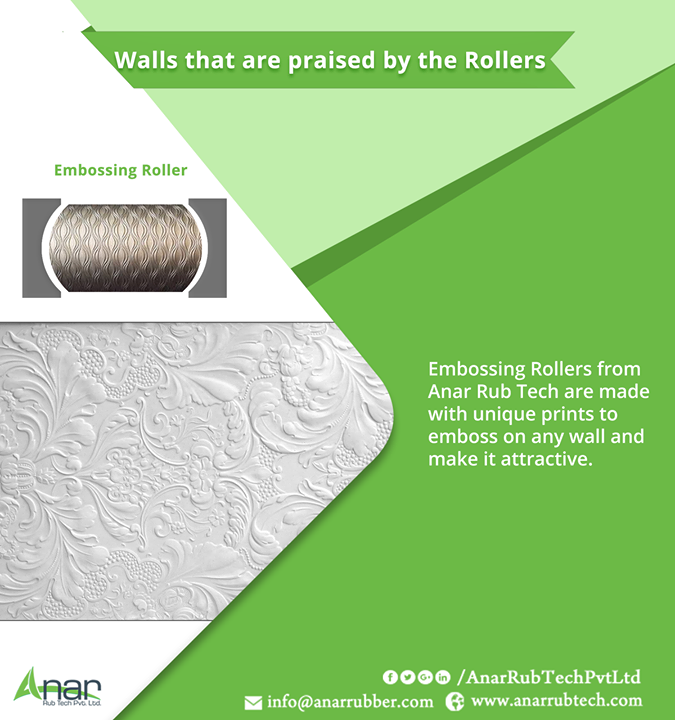 Embossing Rollers from Anar Rub Tech are made with unique prints to emboss on any wall and make it attractive. #EmbossingRollers #EmbossingRollersManufacturers #EmbossingRollersSuppliers #EmbossingRollersExporters