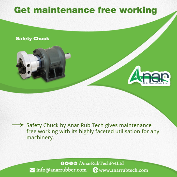 Safety Chuck by Anar Rub Tech gives maintenance free working with its highly faceted utilisation for any machinery. #SafetyChuck #SafetyChuckManufacturers #SafetyChuckSuppliers #SafetyChuckExporters