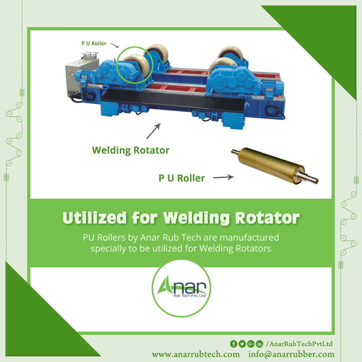 PU Rollers by Anar Rub Tech are manufactured specially to be utilized for Welding Rotators  #PURollers #PURollersManufacturers #PURollersSuppliers #PURollersExporters
