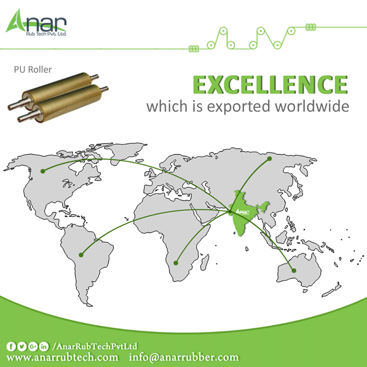 PU Rollers by Anar Rub Tech Pvt. Ltd is internationally suitable for usage and meeting clients needs for long functioning hours. #PURollers #PURollersManufacturers #PURollersSuppliers #PURollersExporters