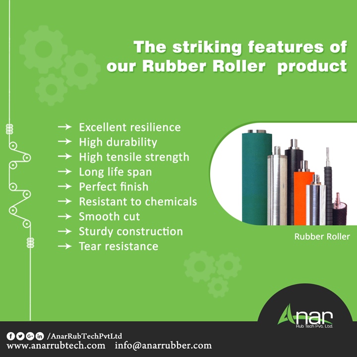 The striking features of our Rubber Roller product Excellent resilience High durability High tensile strength Long life span Perfect finish Resistant to chemicals Smooth cut Sturdy construction Tear resistance  #RubberRoller #RubberRollerManufacturers #RubberRollerExporters