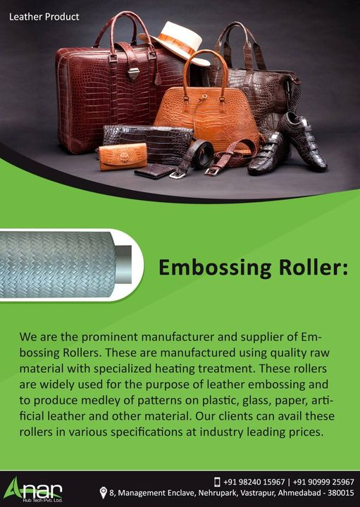We are the prominent manufacturer and supplier of Embossing Rollers. These are manufactured using quality raw material with specialized heating treatment. These rollers are widely used for the purpose of leather embossing and to produce medley of patterns on plastic, glass, paper, artificial leather and other material. Our clients can avail these rollers in various specifications at industry leading prices. #EmbossingRollers #EmbossingRollersManufacturers #EmbossingRollersExporters #EmbossingRollersSuppliers