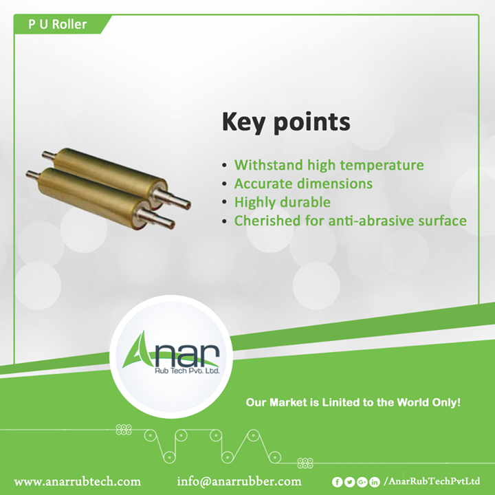 PU Roller Key Points Withstand high temperature Accurate dimensions Highly durable Cherished for anti-abrasive surface #PURoller #Roller