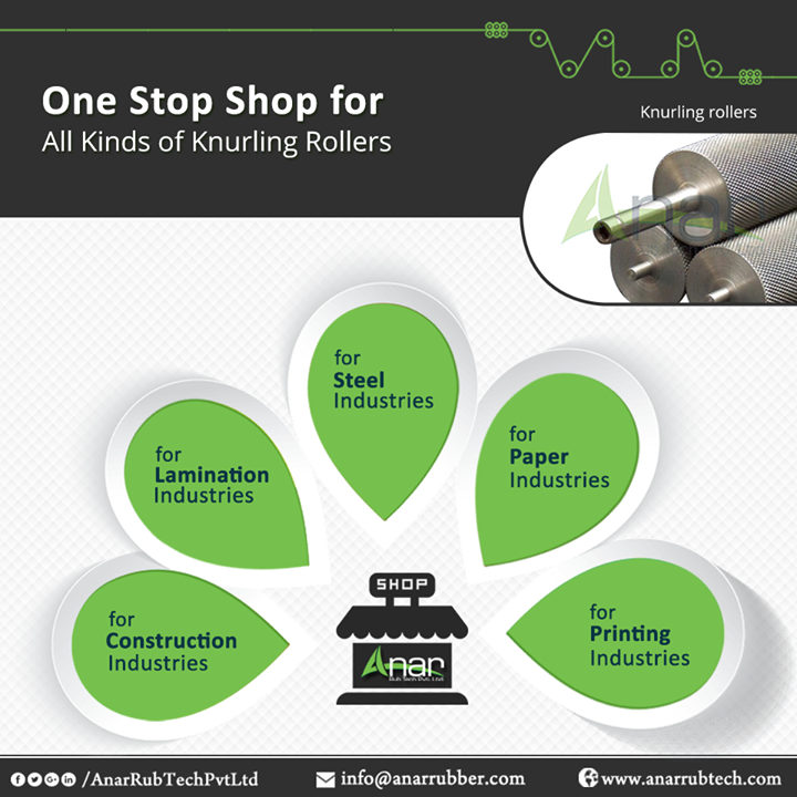 Anar Rub Tech is the leading manufacturer of these rollers, which are known for their moisture resistance and corrosion resistance feature. Our products are reliable and durable and can be customized for your requirement. Trust our reputation and let us help you as we are amongst the choices suppliers of knurling rollers. #KnurlingRollers #KnurlingRollersManufacturers #KnurlingRollersExporters #KnurlingRollersSuppliers