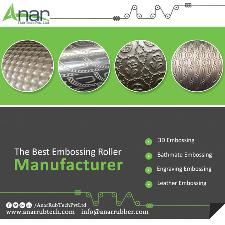 Embossing is a technique with which engraved patterns are printed onto something. There are various kinds of embossing rollers offered by Anar Rub Tech. Leather embossing roller is amongst the popular rollers used worldwide to imprint upon tissue papers, floorings, wallpapers, PU leathers etc. We are the manufacturer of leather embossing roller and also export the same. #LeatherEmbossingRoller #LeatherEmbossingRollerManufacturers #LeatherEmbossingRollerSuppliers #LeatherEmbossingRollerExporters
