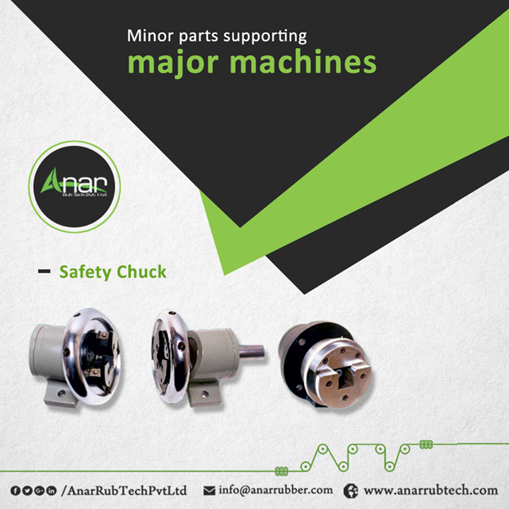 Safety Chucks which are available in 1, 1.25, 1.5 and 2. These chucks are used in winding and unwinding position and runs in a safe manner at calm mechanism. #SafetyChucks #AnarRubTechPvtLtd