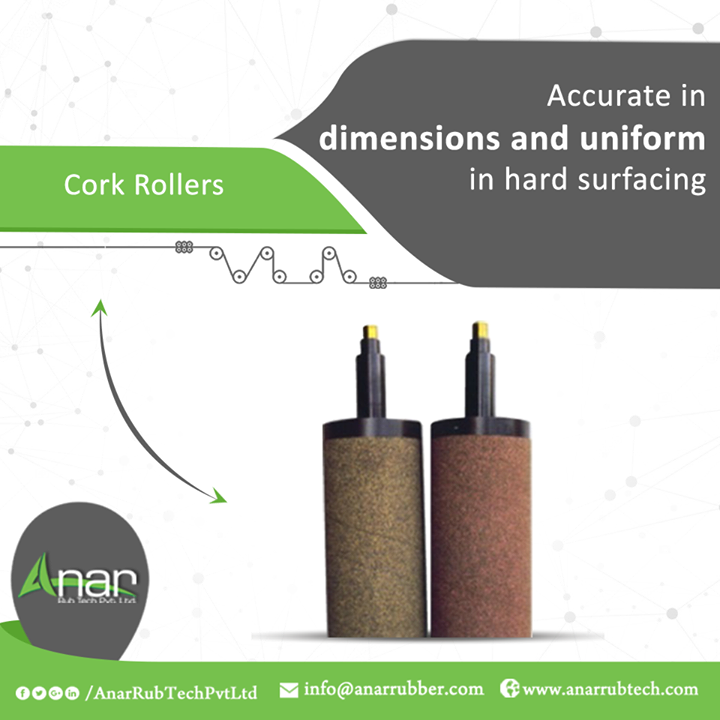 Cork Rollers by Anar Rub Tech Pvt. Ltd. are manufactured with high precision qualities with accuracy and uniformity in surfacing over rubber surface.  #CorkRollers #CorkRollersManufacturers #CorkRollersSuppliers #CorkRollersExporters