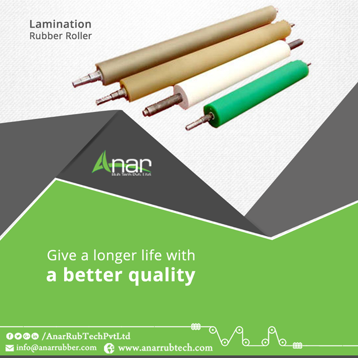 For a better lamination, it is necessary to get it rolled by better rollers. Anar Rub Tech manufactures Rubber Rollers that are highly useful for rolling on laminating purposes.    #LaminationRubberRollers #LaminationRubberRollers #LaminationRubberRollers #LaminationRubberRollers