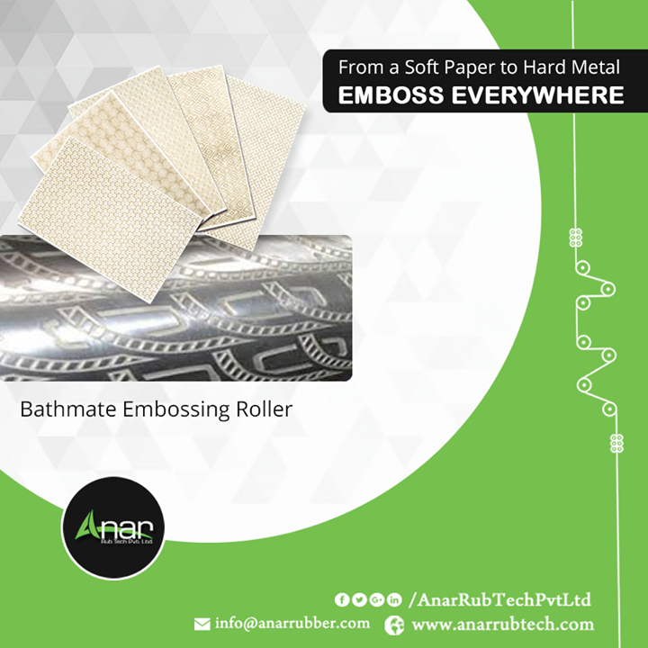 Anar Rub Tech Pvt. Ltd. manufactures Bathmate Embossing Rollers which embosses on every such material which are suitable for and compatible to deliver better finishing. #BathmateEmbossingRollers #BathmateEmbossingRollersManufacturers #BathmateEmbossingRollersSuppliers #BathmateEmbossingRollersExporters