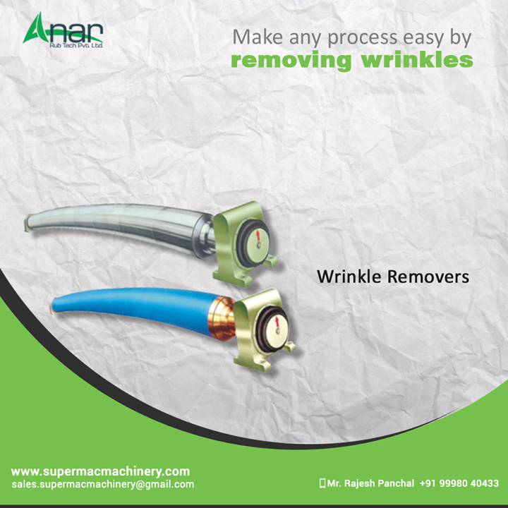 Anar Rub Tech manufactures Wrinkle Removers which erases every such shrunk width and gives a smooth surfacing. #WrinkleRemovingRolls #WrinkleRemovingRollsManufacturers #WrinkleRemovingRollersSuppliers #WrinkleRemovingRollersExporter