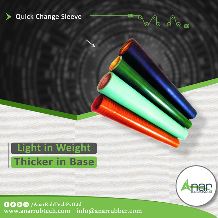 Anar Rub Tech manufactures sleeves which are used in printing and laminating with good quality. Quick Change sleeves saves time and gives a thick base of 300 mm diameter.  #QuickChangesleeves #QuickChangesleevesManufacturers #QuickChangesleevesSuppliers #QuickChangesleevesExporters