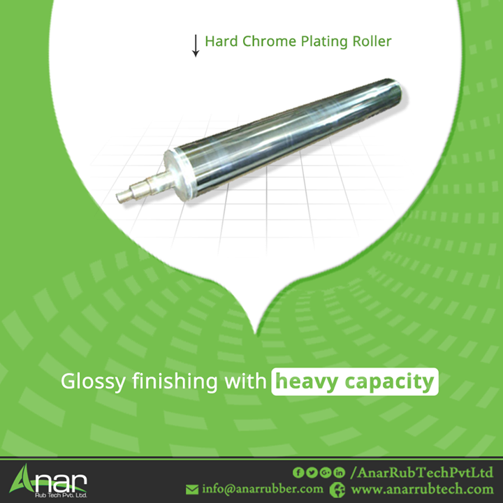 Hard Chrome Plating Roller by Anar Rub Tech is manufactured to give greater glossy finishing to surfacing and it carries heavy weighing capacity of 10 tonnes with length of 524 * 6000 mm length.  #HardChromePlatingRoller #HardChromePlatingRollerManufacturers #HardChromePlatingRollerSuppliers #HardChromePlatingRollerExporters