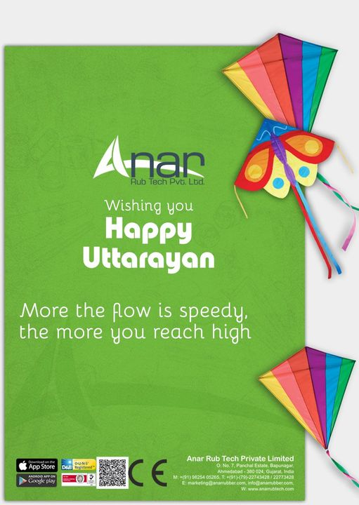 Anar Rub Tech wishes you a very happy Uttarayan and let us learn to have good source of flow for reaching on heights.  #HappyUttarayan  #Makarsankranti  #AnarRubTechPvtLtd