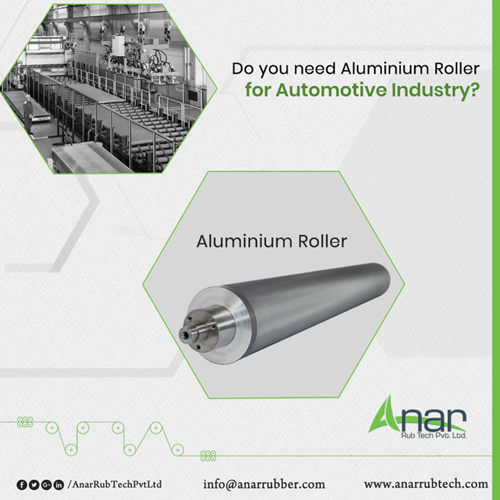 Quality rollers made of pure Aluminium by Anar Rub Tech are ideal rollers to be useful for any Automotive Industry for bringing the perfectness in operational work.  #AluminiumRoller #AluminiumRollerManufacturers #AluminiumRollerSuppliers #AluminiumRollerExporters