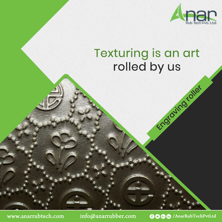 Engraving roller from Anar Rub Tech giving an embossed texture on any fabric and suitable for textile industry for subtle and sober look. #EngravingRoller   #EngravingRollerManufacturers #EngravingRollerSuppliers #EngravingRollerExporters