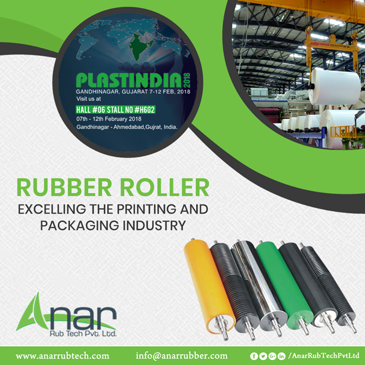 Prominent Rubber Rollers by Anar Rub Tech are featured and showcased in PLASTINDIA 2018 for its multi-purpose utilization.   #RubberRollers #RubberRollersManufacturers #RubberRollersSuppliers #RubberRollersExporters