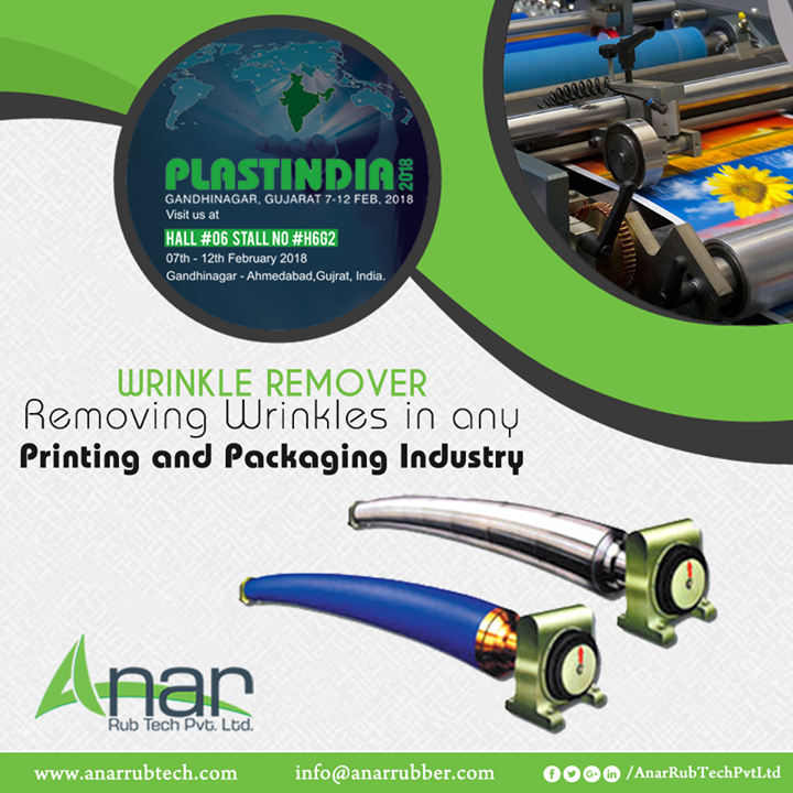 Removing wrinkles from any paper or lamination sheet with Wrinkle Removers by Anar Rub Tech featured in PLASTINDIA 2018.  #WrinkleRemoversRoller #WrinkleRemoversRollerManufacturers #WrinkleRemoversRollerSuppliers #WrinkleRemoversRollerExporters