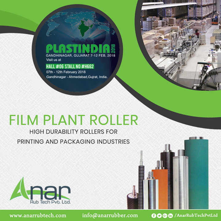 Film Plant Roller is one of the best appliances of Anar Rub Tech which is widely used in Printing and Packaging Industries and is exhibited in PLASTINDIA 2018.  #FilmPlantRoller #FilmPlantRollerManufacturers #FilmPlantRollerSuppliers #FilmPlantRollerExporters