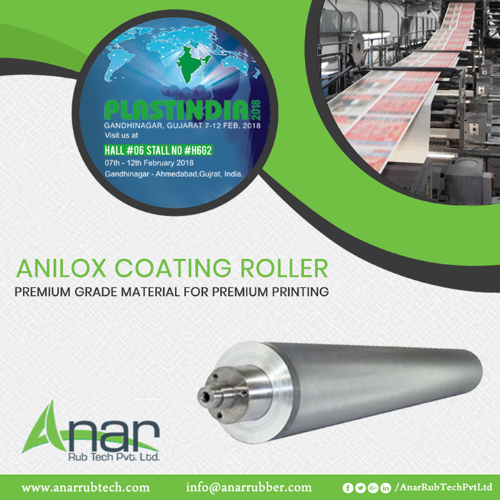 High quality and efficient Anilox Coating Roller by Anar Rub Tech are showcased in PLASTINDIA 2018 for its high application in printing and packaging industries.  #AniloxCoatingRoller #AniloxCoatingRollerManufacturers #AniloxCoatingRollerSuppliers #AniloxCoatingRollerExporters