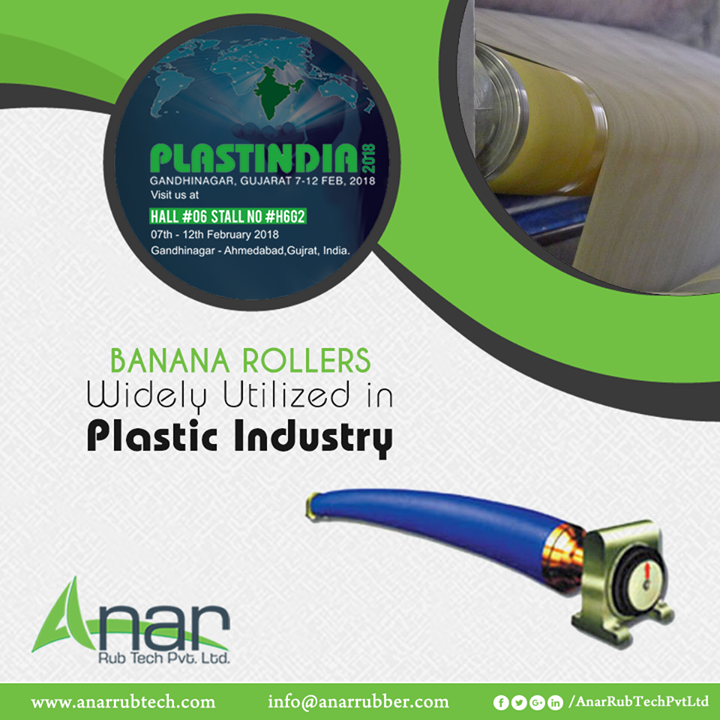 Featured in PLASTINDIA 2018, Banana Rollers from Anar Rub Tech are applied in almost every plastic industrial operations for consistent performance.  #BananaRollers #BananaRollersManufacturers #BananaRollersSuppliers #BananaRollersExporters