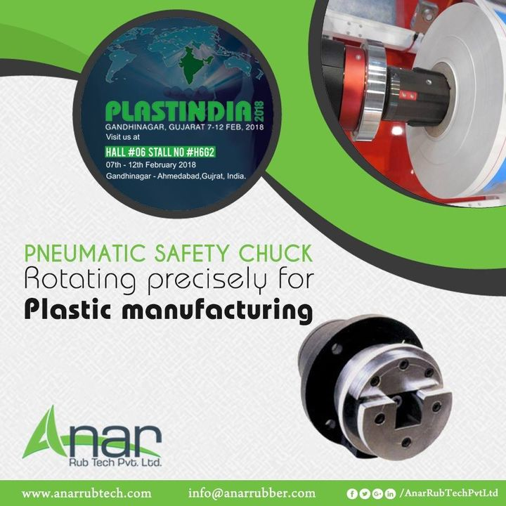 Pneumatic Safety Chuck is an ideal application in Plastic industry for rotating and giving a shape in plastic ware manufacturing and exhibited in PLASTINDIA 2018. #SafetyChuck #SafetyChuckManufacturers #SafetyChuckSuppliers #SafetyChuckExporters