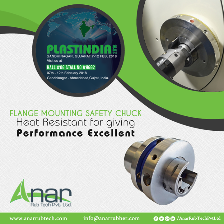 For any perfect plastic manufacturing, Flange Mounting Safety Chuck is utilised in Plastic industries and featured in PLASTINDIA 2018 by Anar Rub Tech.  #SafetyChuck #SafetyChuckManufacturers #SafetyChuckSuppliers #SafetyChuckExporters