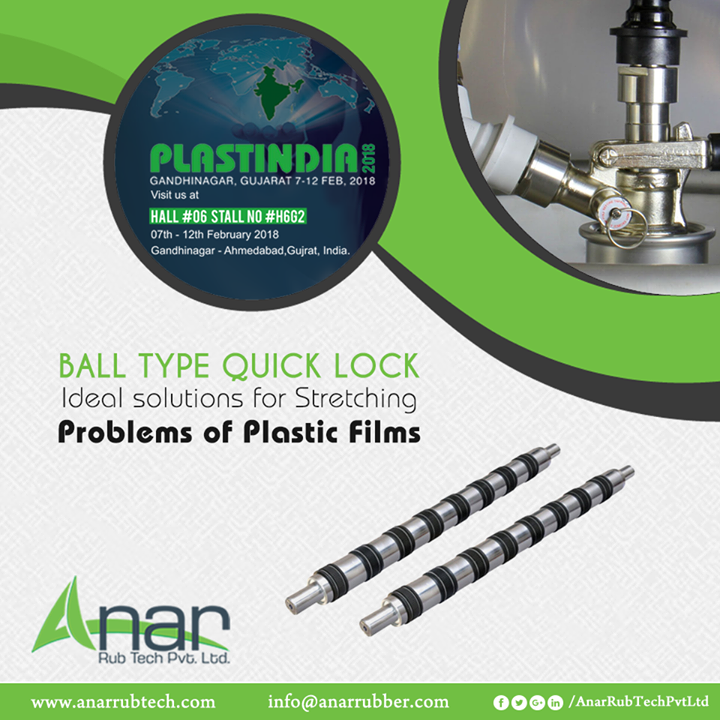 Ball Type Quick Lock by Anar Rub Tech is an ideal appliance used for solving for stretching problems of Plastic Films in Plastic Industries and also featured in PLASTINDIA 2018.  #BallTypeQuickLock #BallTypeQuickLockManufacturers #BallTypeQuickLockSuppliers #BallTypeQuickLockExporters