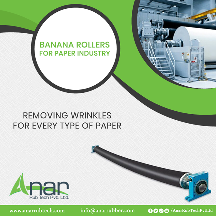 Banana Rollers by Anar Rub Tech are ideal wrinkle removers which are utilized in almost every type of paper industries and its processing. #BananaRollers #BananaRollersManufacturers #BananaRollersSuppliers #BananaRollersExporters
