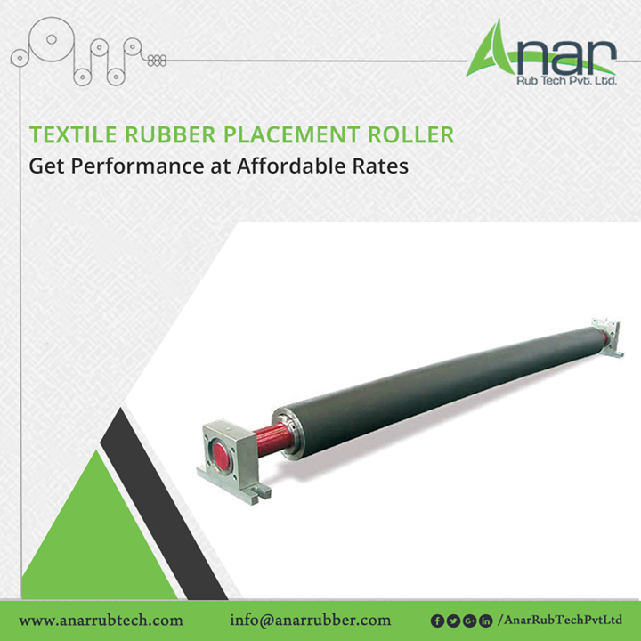 High performance Textile Rubber Placement Roller from Anar Rub Tech are available at affordable rates in the market which ensures quality working for any appliance and operational activity.  #TextileRubberRoller  #AnarRubTechPvtLtd