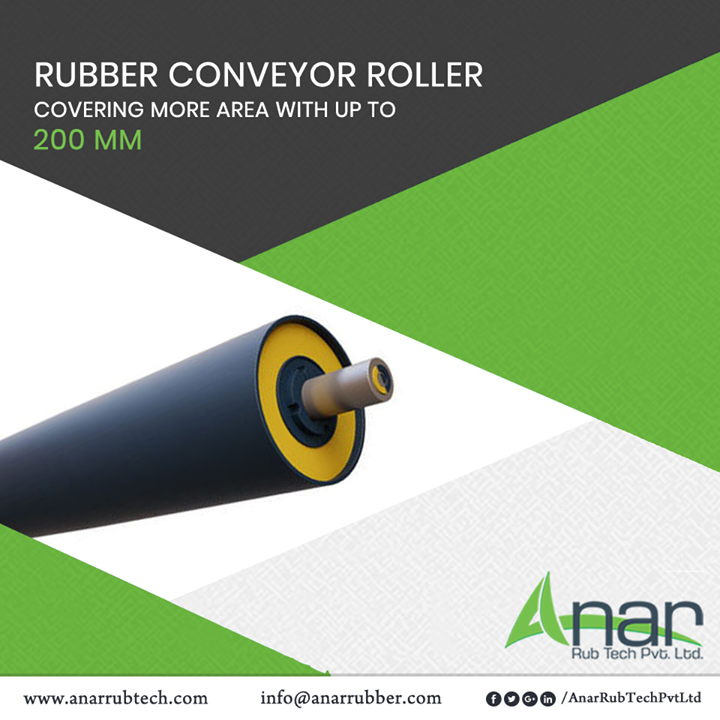 Rubber Conveyor Rollers from Anar Rub Tech are available in different quantities and in different sizes with up to 200 mm which covers huge surface area with ease.  #AnarRubTechPvtLtd