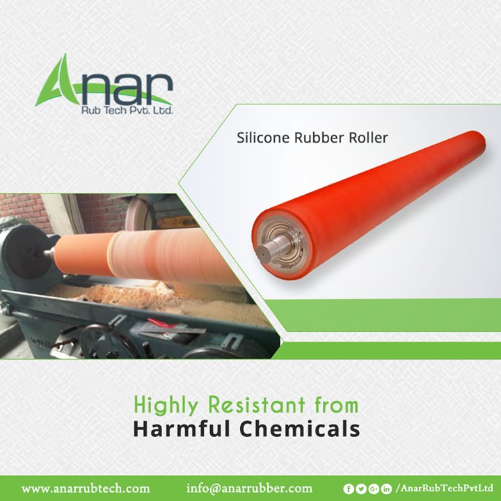 Silicone Rubber Rollers from Anar Rub Tech are highly chemical resistant and suitable for heavy industrial purposes in steel, textile or printing industries.  #SiliconeRubberRollers #SiliconeRubberRollersManufacturers #SiliconeRubberRollersSuppliers #SiliconeRubberRollersExporters