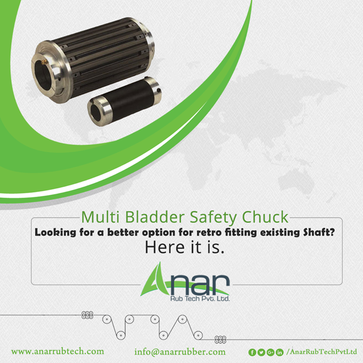 Multi Bladder Safety Chuck from Anar Rub Tech is a multi-purpose utility for positioning and highly concentric so that you can get a better option for an old fitting existing shaft.  #SafetyChuck #SafetyChuckManufacturers #SafetyChuckSuppliers #SafetyChuckExporters