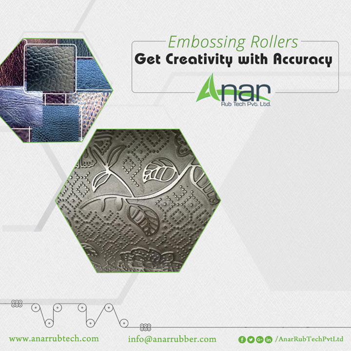 With the high quality Embossing Rollers by Anar Rub Tech, get the creative prints on the embossing prints with accurate dimensions and perfect measurement.  #EmbossingRollers  #EmbossingRollersManufacturers #EmbossingRollersSuppliers #EmbossingRollersExporters
