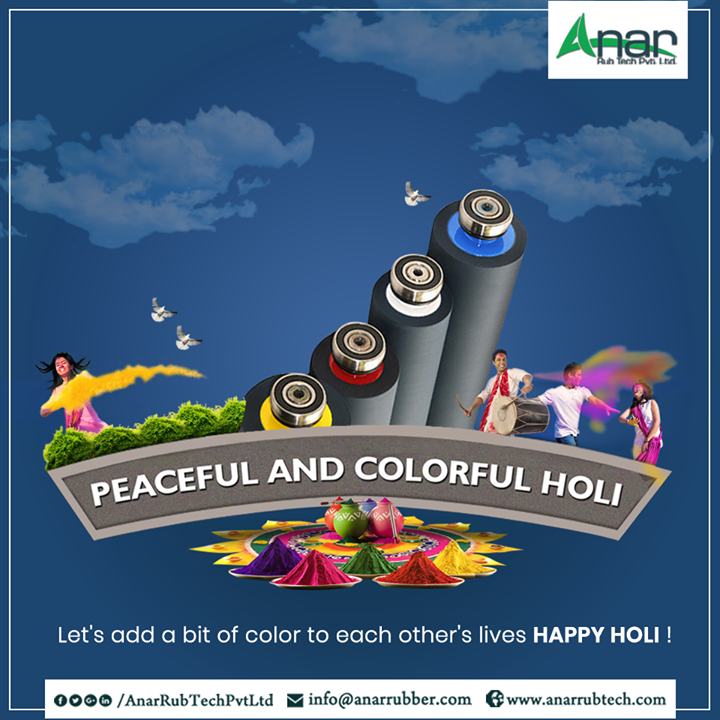Anar Rub Tech wishes you all a very Happy Holi. Forget every sorrows by splashing colors at your loved ones and make every moment memorable and joyful. #Holi #HappyHoli #RubberRollsManufacturers #RubberRollsSuppliers #RubberRollsExporters