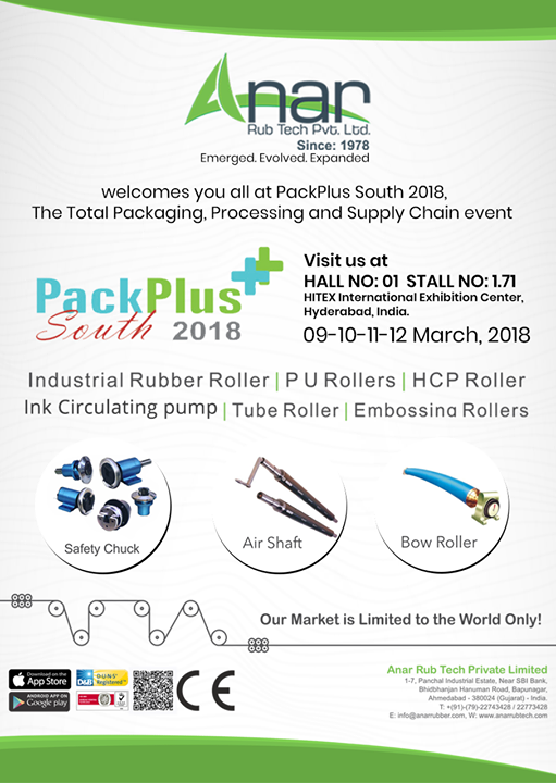 Anar PackPlus South 2018:  Emerged. Evolved. Expanded.  Anar Rub Tech welcomes you all at PackPlus South 2018, The Total Packaging, Processing and Supply Chain event #AnarRubTechPvtLtd