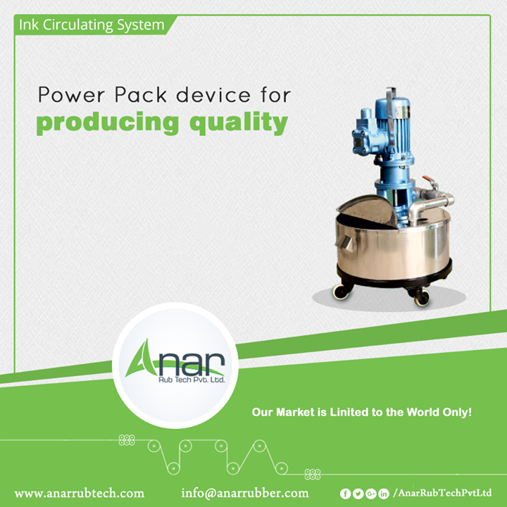 Ink Circulating System consists of Flame Proof Motor, Compact Cast Body, Extra Stirrer and Flow Control Valves. Anar Rub Tech Pvt. Ltd. manufactures this machinery for better performance of ink and least wastage.  #InkCirculatingSystem #InkCirculatingSystemManufacturers #InkCirculatingSystemSuppliers #InkCirculatingSystemExporters