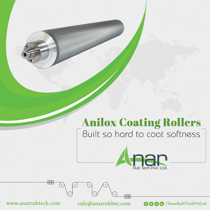 Anilox Coating Rollers by Anar Rub Tech are made up of hard aluminium or steel which gives smooth surface on laminating and any printing industry. #AniloxCoatingRollers #AniloxCoatingRollersManufacturers #AniloxCoatingRollersSuppliers #AniloxCoatingRollersExporters